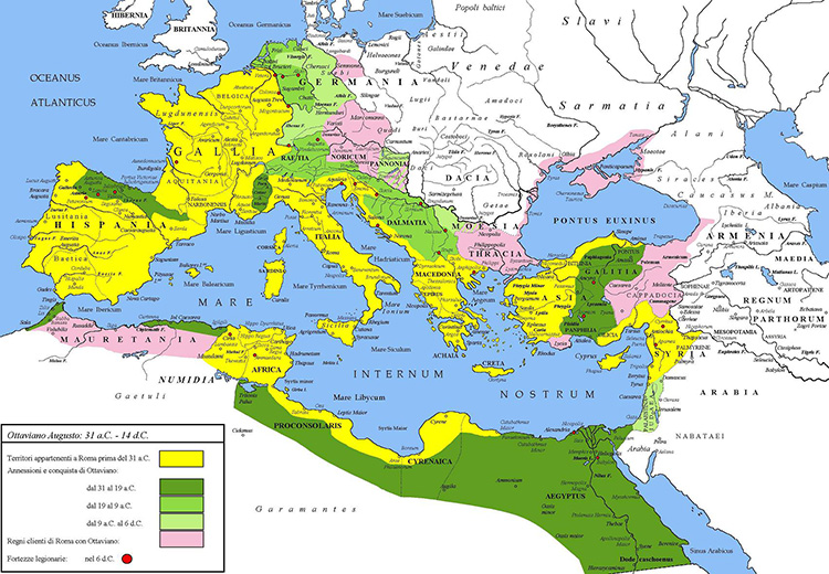 A map of the Roman Empire under the reign of Emperor Augustus