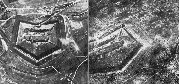 Fort Douaumont before and after Verdun battle