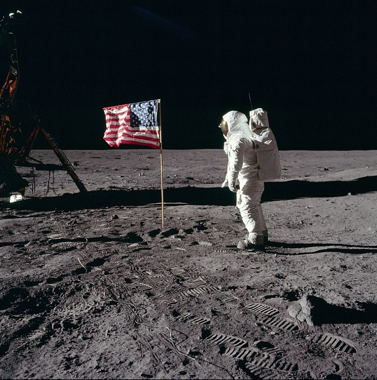Buzz Aldrin salutes the US flag on the moon