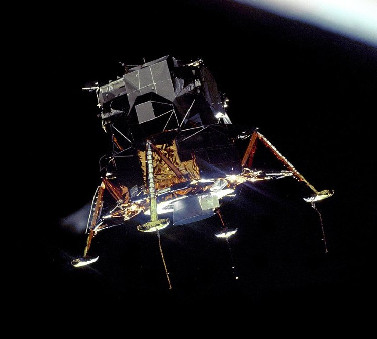 Eagle (lunar module) in lunar orbit photographed from Columbia