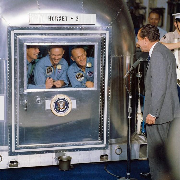 President Nixon welcomes the Apollo 11 astronauts aboard the USS Hornet
