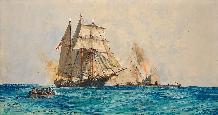 HMS Prize engages the German U-Boat.