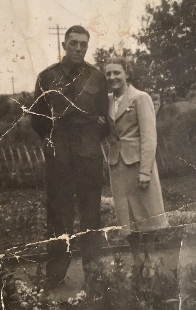 Guardsman Arthur Rice and wife 'Titch' taken at Bristol Hospital whilst Arthur was recovering from wounds.
