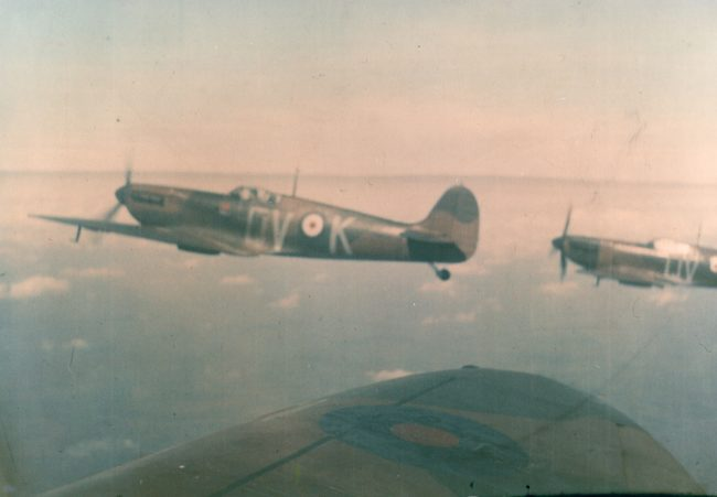 A remarkable colour (not colorised!) snapshot taken by Pilot Officer Michael Lyne of Flight Lieutenant Lane up from Duxford in early 1940; the other Spitfire is that of Pilot Officer Peter Watson.