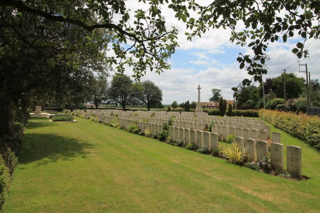 The British War Cemetery at Escquelbecq, where certain known victims of the Wormhoudt Massacre – and some known only 'Unto God' – are at rest.