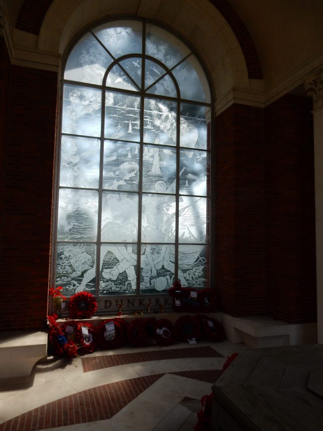 A window in the Dunkirk Memorial to the Missing of France and Flanders – on which the name of the gallant Captain Lynn Allen can be found.