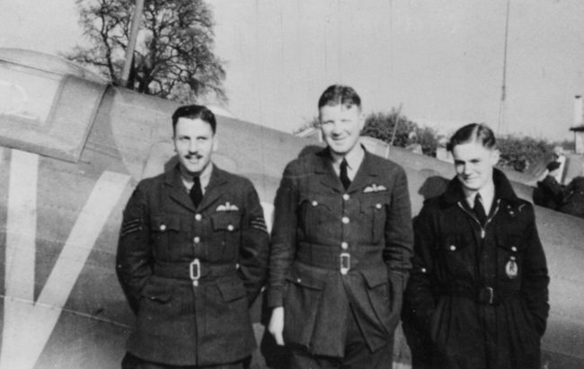 From left: Sergeant Jack Patter, Flying Officer Geoffrey Matheson and Pilot Officer Peter Watson pictured at Duxford shortly before Dunkirk.