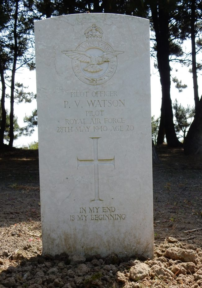 Sadly, Pilot Officer Watson became 19 Squadron's first combat casualty of the Second World War when shot down over Dunkirk on 26 May 1940. Today, his grave can be found at Calais Canadian Cemetery.