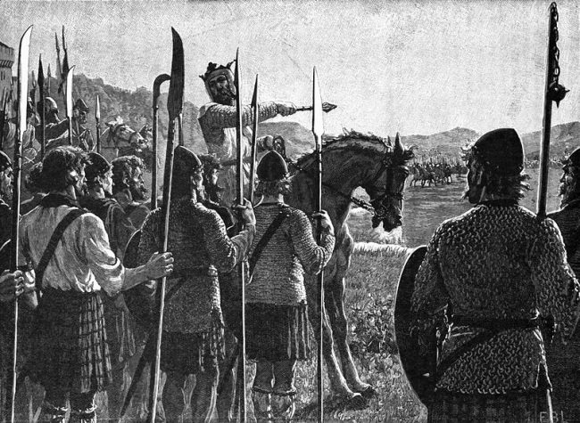 Robert addressing his troops at the Battle of Bannockburn, as depicted in Cassell's 'History of England'.