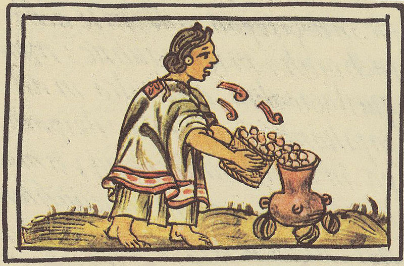 Aztec woman blowing on maize