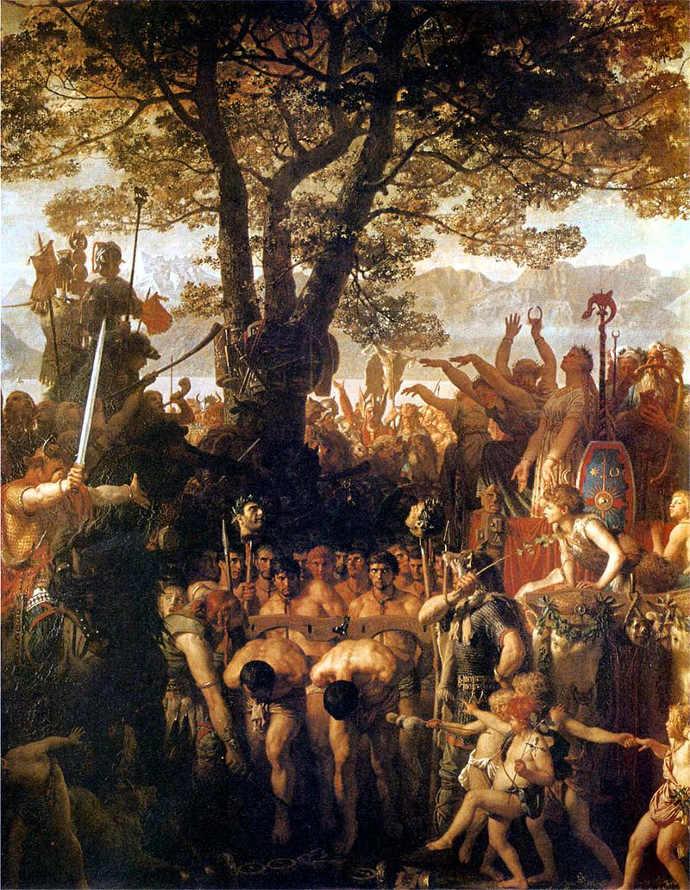 Helvetii with captured Romans