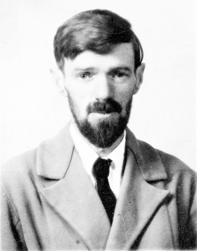 The passport photograph of D.H. Lawrenece, the author of 'Lady Chatterley's Lover'.