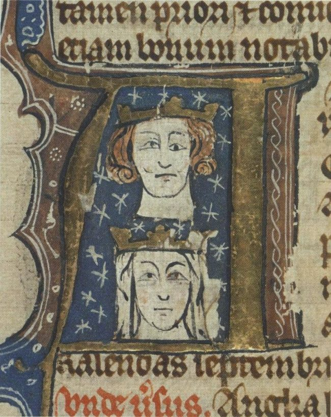A 14th century manuscript depicting Edward I and his wife Eleanor.