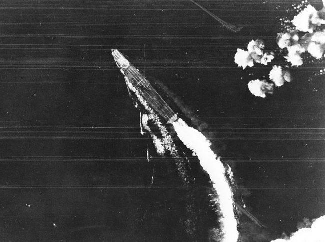 A B-17 attack misses Hiryū.