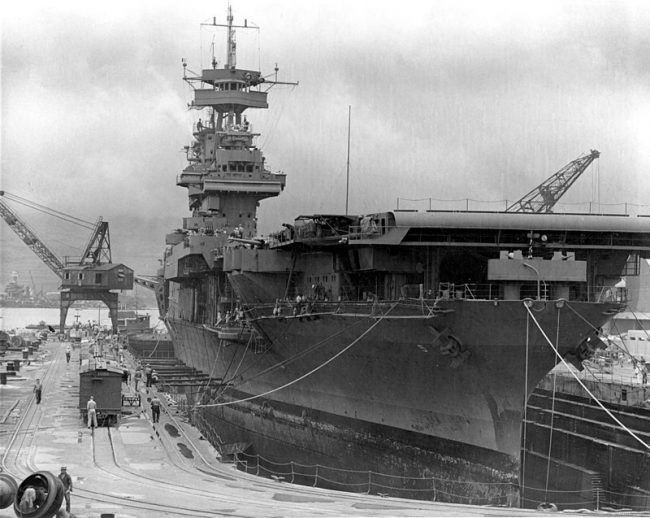 USS Yorktown at Pearl Harbor days before the battle.