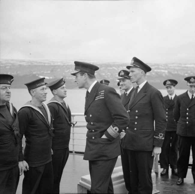 Charles served under Lord Mountbatten in Burma - seen here inspecting members of the Royal Navy.