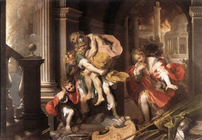 Aeneas flees from Troy