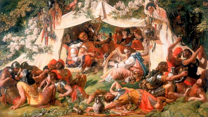 This nineteenth century interpretation of Alfred's (pictured here with a harp) daring infiltration of Guthred's camp.