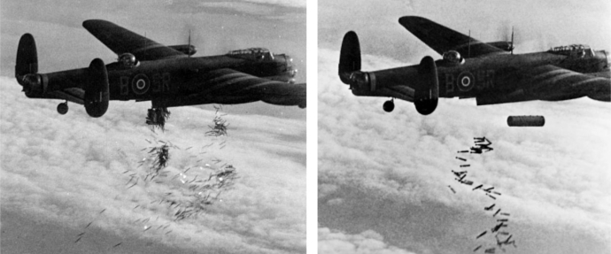 Avro_Lancaster_I_NG128_Dropping_Load_-_Duisburg_-_Oct_14_-_1944