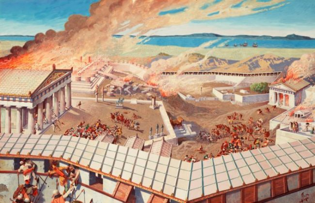 The Persian army storms the Acropolis in Athens.