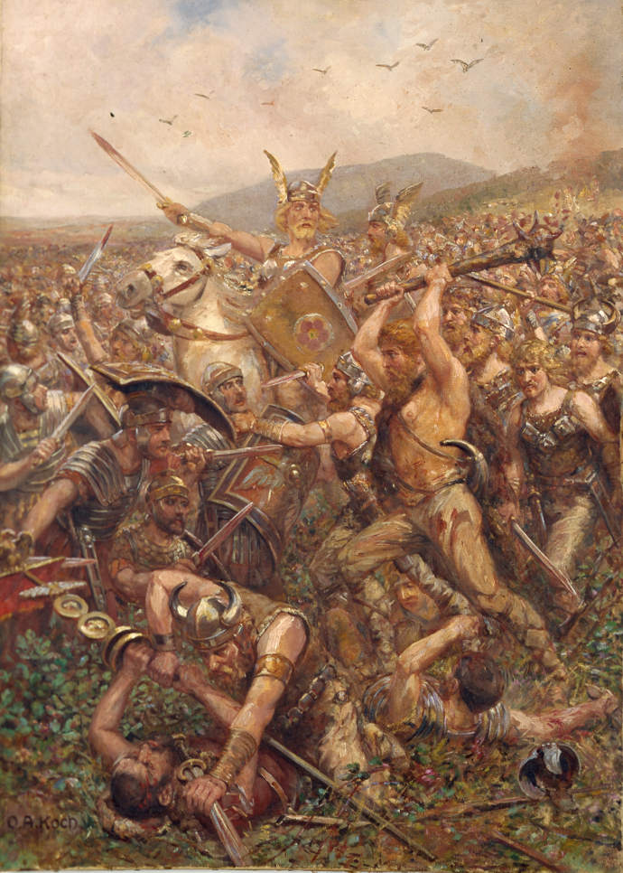 Germanic warriors at the Battle of the Teutoburg Forest