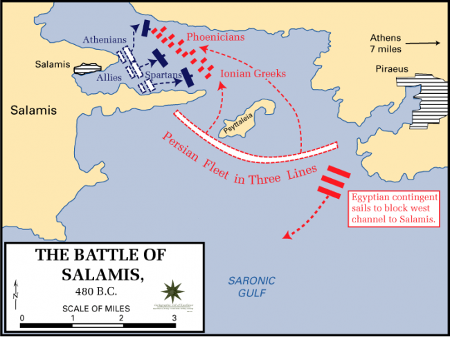 The Battle of Salamis map