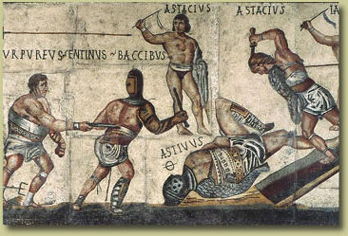 Ancient Roman gladiator types on a mosaic