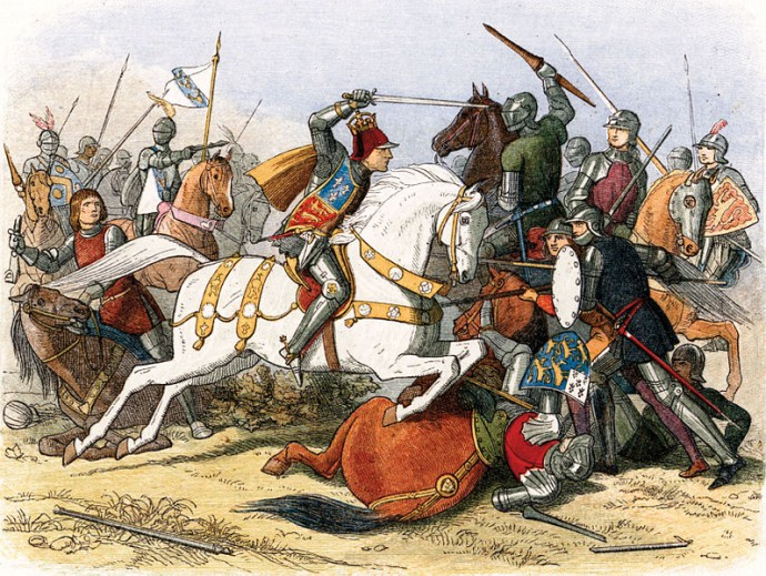 This engraving by James Doyle in 1864 depicts the Battle of Bosworth.
