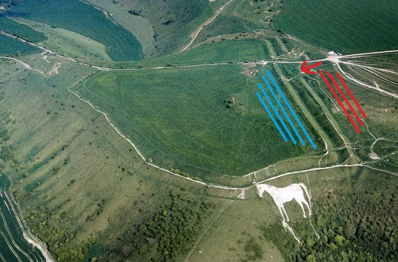 This is the fort that Guthrum (Blue) chose to set his battle lines. Alfred (Red) assaulted through the ditch and over the ramparts to achieve victory. The white horse was cut sometime in the sixteenth century to commemorate the battle.