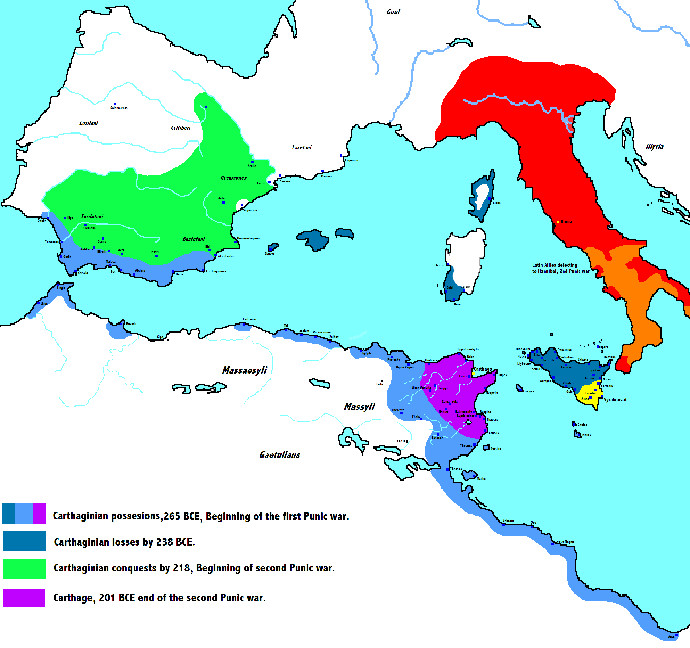Map of Carthaginian Empire through the Punic Wars