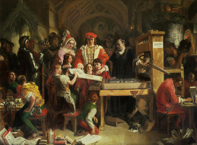 Caxton Showing the First Specimen of His Printing to King Edward IV at the Almonry, Westminster: