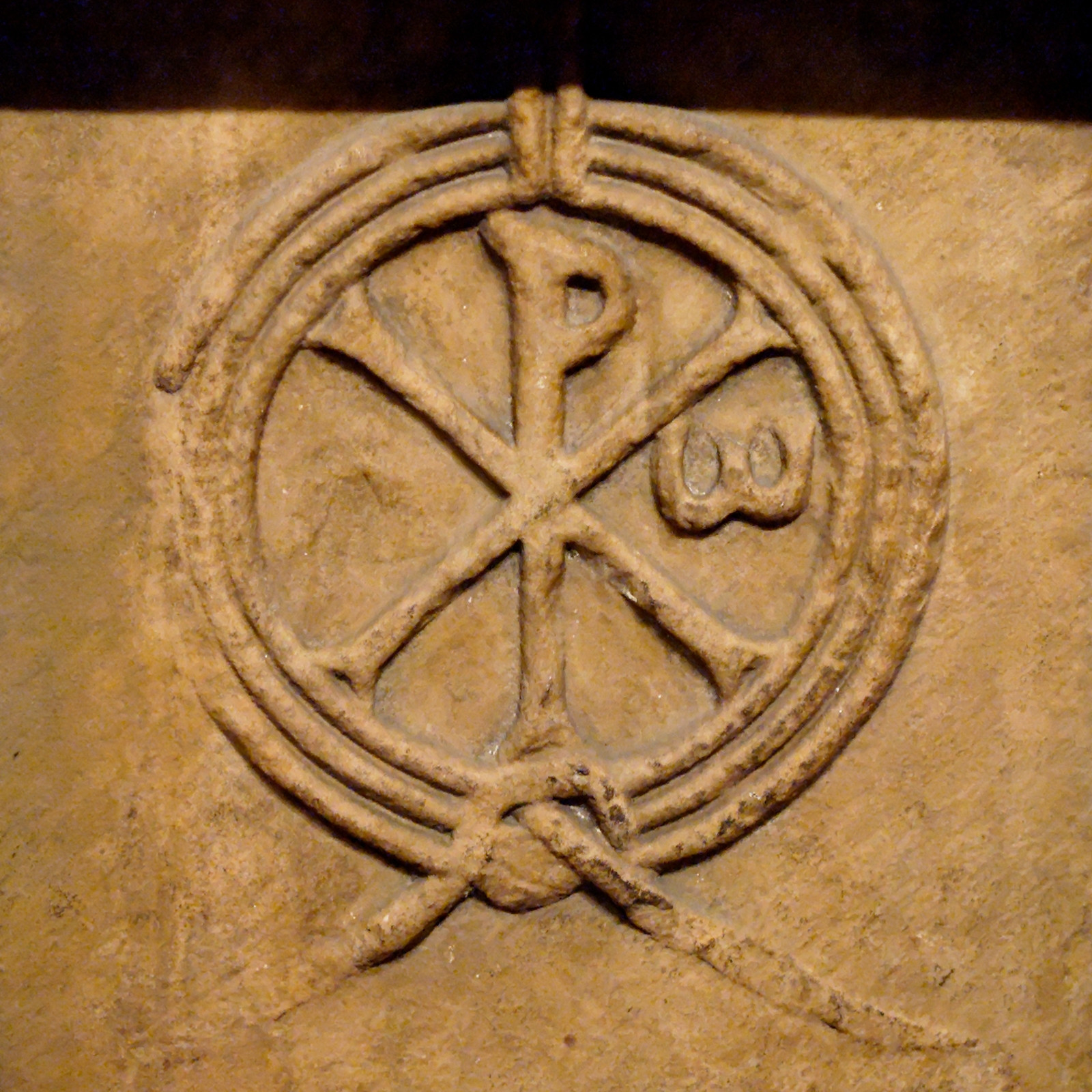 This Chi-Rho is engraved on an early twelfth century alter in France. The symbol Constantine bore into battle is made up of the first two Greek characters of the word 'Christ', X and P.
