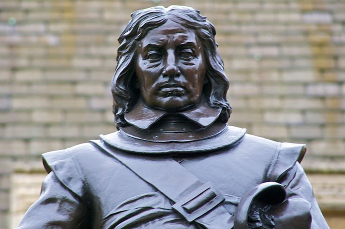 Oliver Cromwell's statue which stands outside the Houses of Parliament.