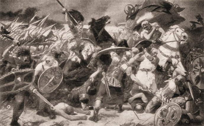 Germanic tribes cross the Rhine in to the Roman Empire