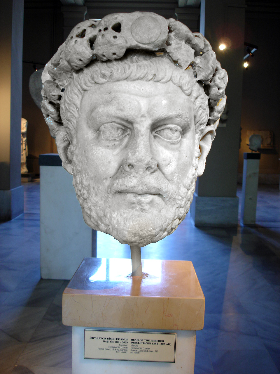 A bust of Emperor Diocletian.