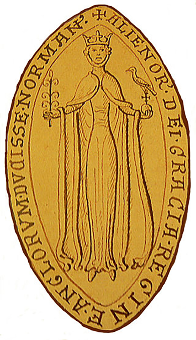 The obverse of Eleanor's seal. She is identified as 'Eleanor, by the Grace of God, Queen of the English, Duchess of the Normans'. The legend on the reverse calls her 'Eleanor, Duchess of the Aquitanians and Countess of the Angevins'.