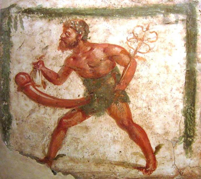 Erotic priapic fresco from Pompeii