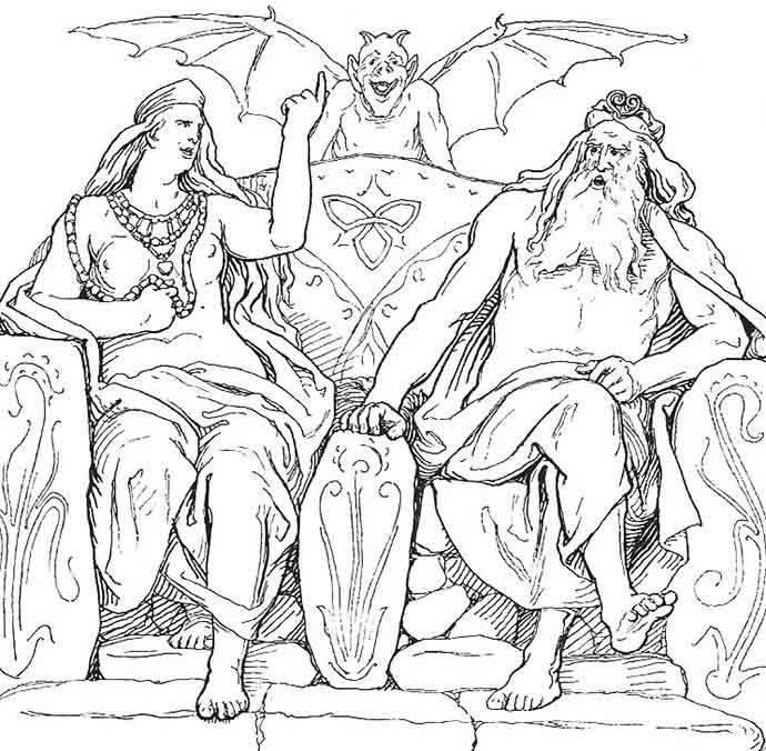 Frigg_and_Odin_in_Grímnismál_by_Frølich