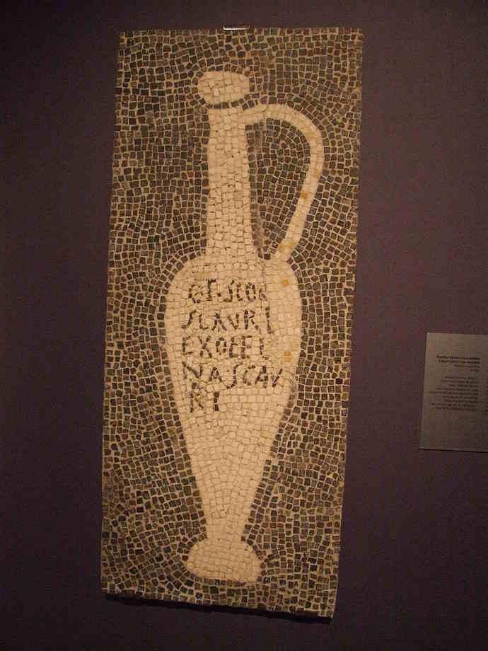 branded garum jar mosaic from Pompeii mosaic.