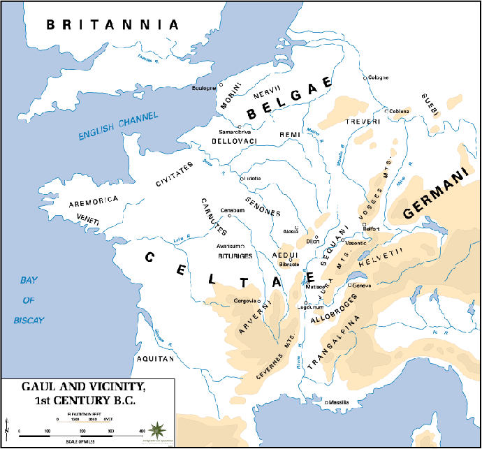 Tribes of Gaul in the 1st Century BC prior to Gallic Wars