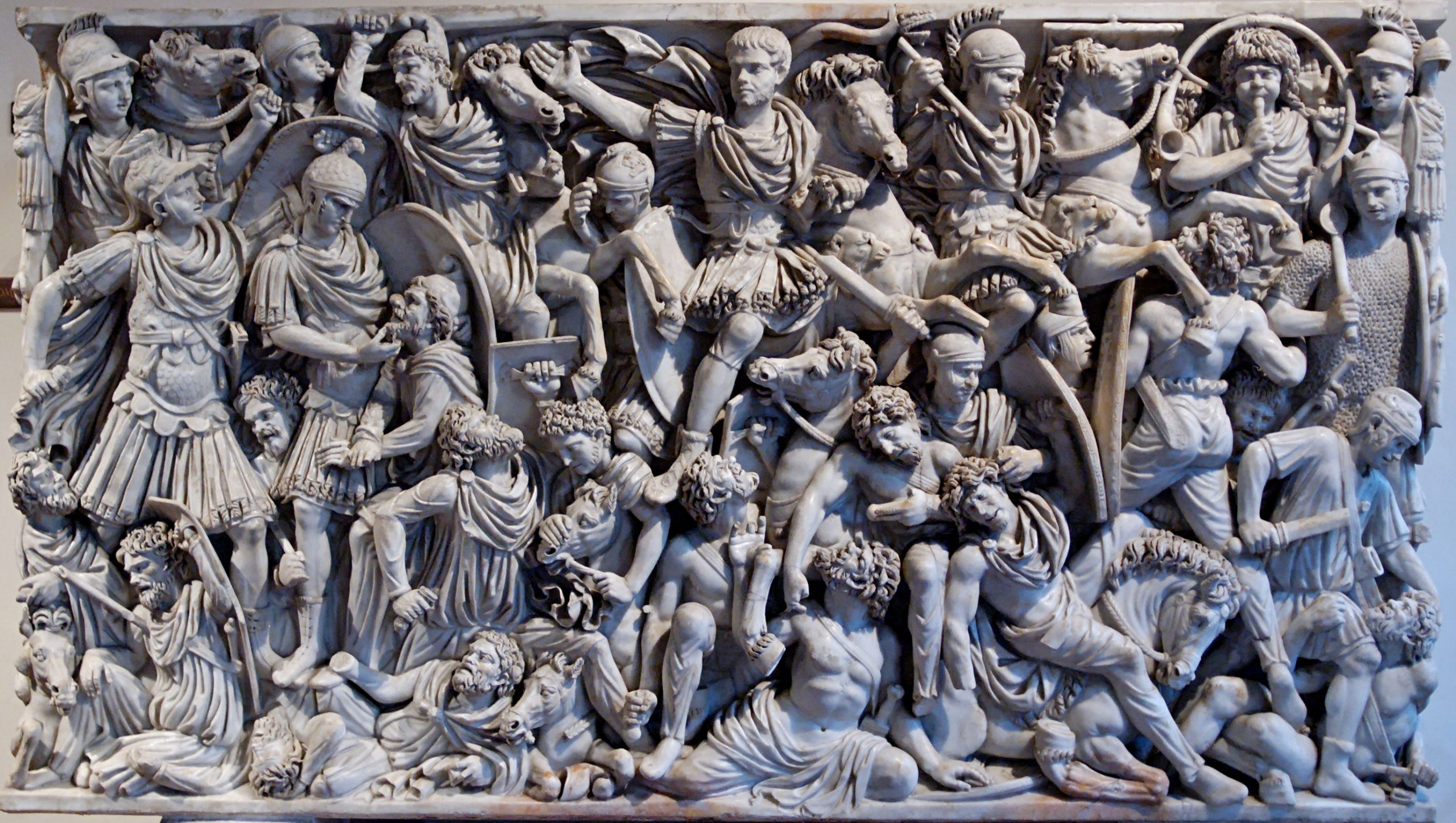 A depiction of a battle between the Goths and the Romans on the third century AD Grande Ludovisi Sarcophagus.