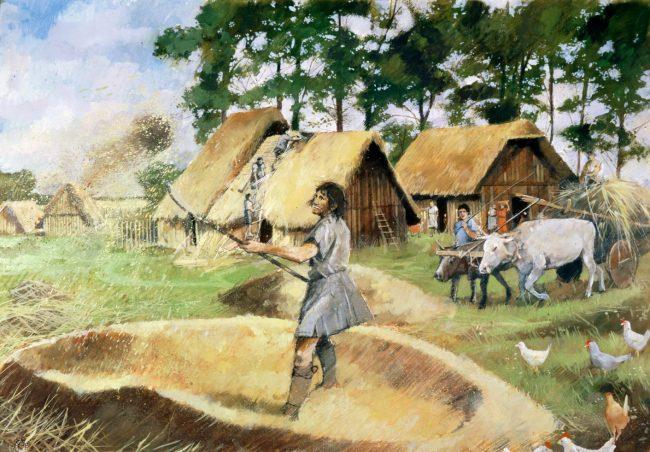 Roman farming, c3rd century, (1990-2010). Artist: Ivan Lapper.