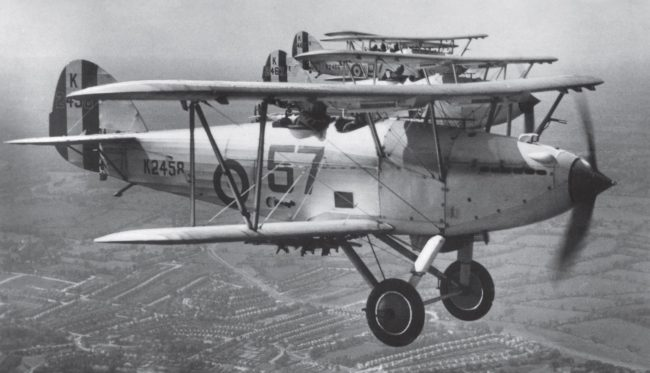 Hawker Hart. Harts of No 57 Squadron flying in formation.