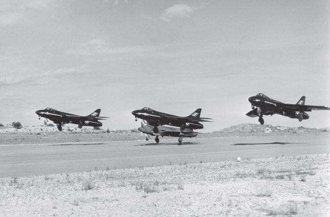 Hawker Hunter. Hunter F6 aircraft of No 92 Squadron taking off from RAF, Akrotiri, Cyprus, 1961.