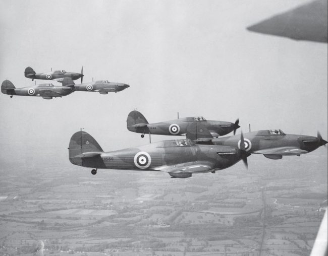 Hurricanes in Flight. Formation of No 111 Squadron Hurricane Mk Is, 1938.