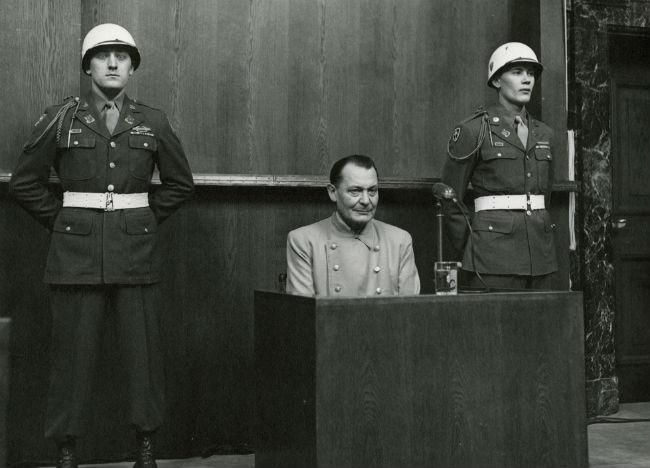 Hermann Göring on trial at Nuremberg.