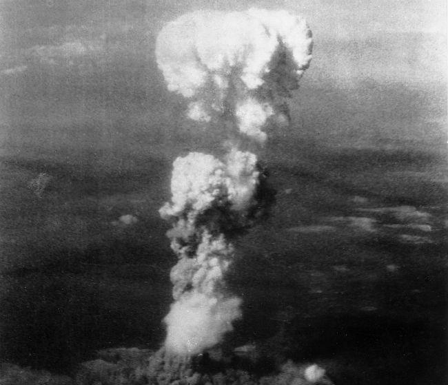 An aerial photo of the atomic bomb mushroom cloud over Hiroshima.