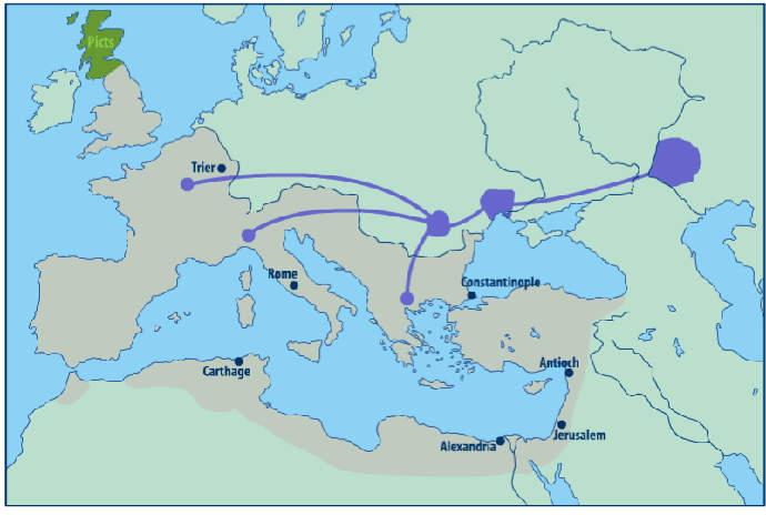 Map of Hun migrations