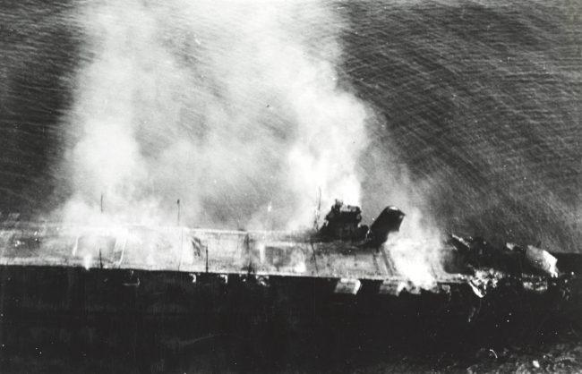 The abandoned and burning Hiryū
