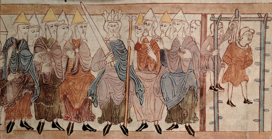 This print from an Anglo-Saxon manuscript shows a king (likely Alfred or one of his close descendants) at court dispensing justice.